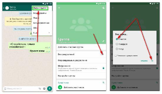 Как выключить уведомления группы в WhatsApp