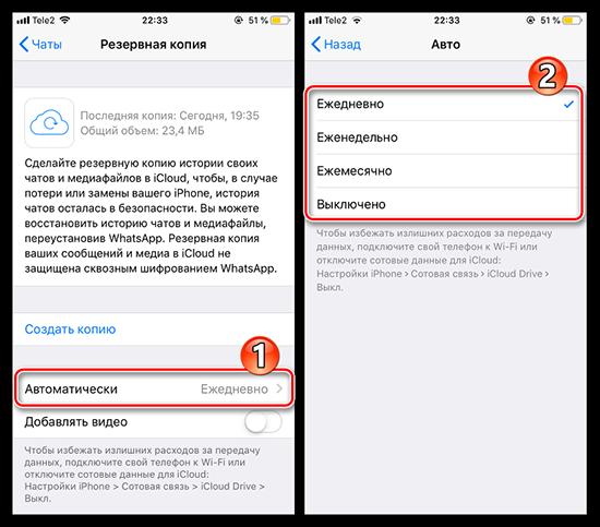 Создание резервной копии WhatsApp на iPhone