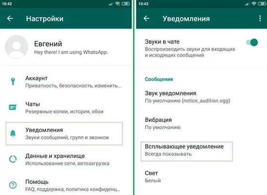 Как настроить уведомления WhatsApp на Android
