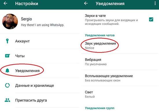 Включение и отключение оповещений в WhatsApp