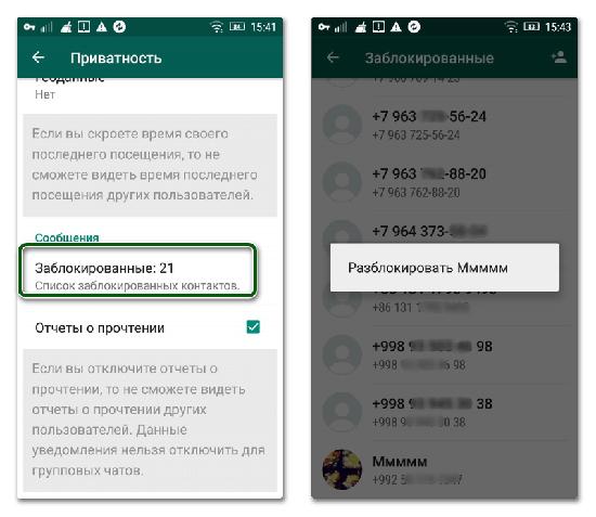 Как найти и посмотреть список заблокированных в WhatsApp