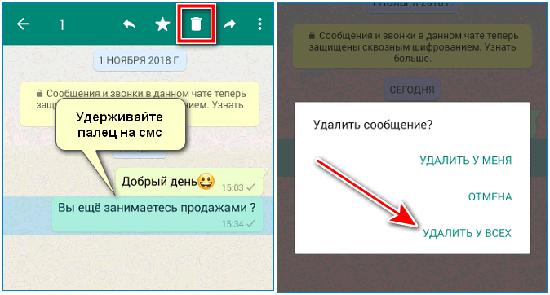 Удаление сообщений у собеседника после прочтения в WhatsApp